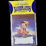 New Vintage Pinocchio Jiminy Cricket 24 Bookplates Ex Libris Nameplates Disney Collectible Mint