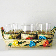 Rattan Serving Set Drinking Glasses 6 stackable Mint Entertainment