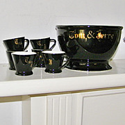 6 Vintage Black Tom and Jerry Mugs and Bowl set restaurant ware
