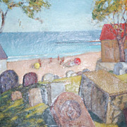 Early Modern Art ~ Cemetery w/ Children O/C Painting