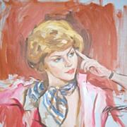 1978 Pensive Lady Original O/C Portrait Painting ~ Signed