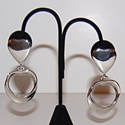 1980s Bold Polished Silvertone Heart Dangle Earrings