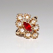 1960/70s CCI ~ Ruby Red Rhinestone Cocktail Ring