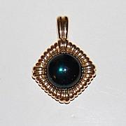SALE 1980s KJL ~ Large Green Cabochon Goldtone Pendant