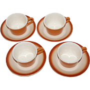 Franciscan ~ Shady Lane ~ 8-Pc Burnt Orange Cup/Saucers