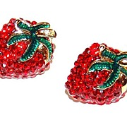 1980s Red Rhinestone Strawberry Enamel Earrings