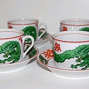 1975 Fitz and Floyd ~ Dragon Crest Cup & Saucer Set ~ Set of 4