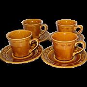 SALE 1970s Homer Laughlin ~ Golden Harvest Cups & Saucers ~ Set of 4