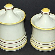 """SALE Mid-Century Modern """"Genie"""" Ribbed Canister Jars ~ Set of 2"""