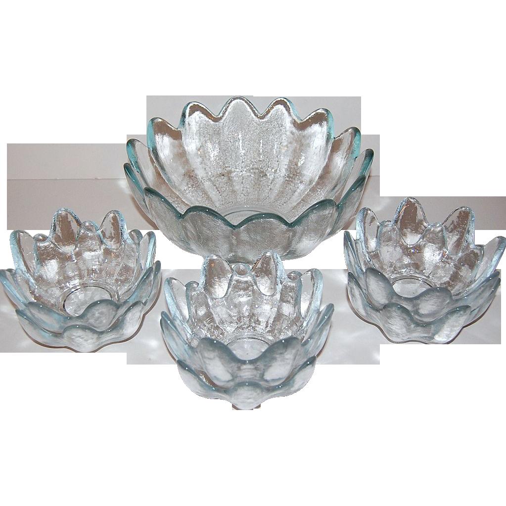 Blenko ~ Icy Blue Textured Petal Salad Bowl w/ 6 Bowls