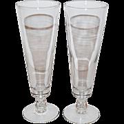 SALE 1950s CAMEL Cigarette Advertising Etched Pilsner Barware Glass