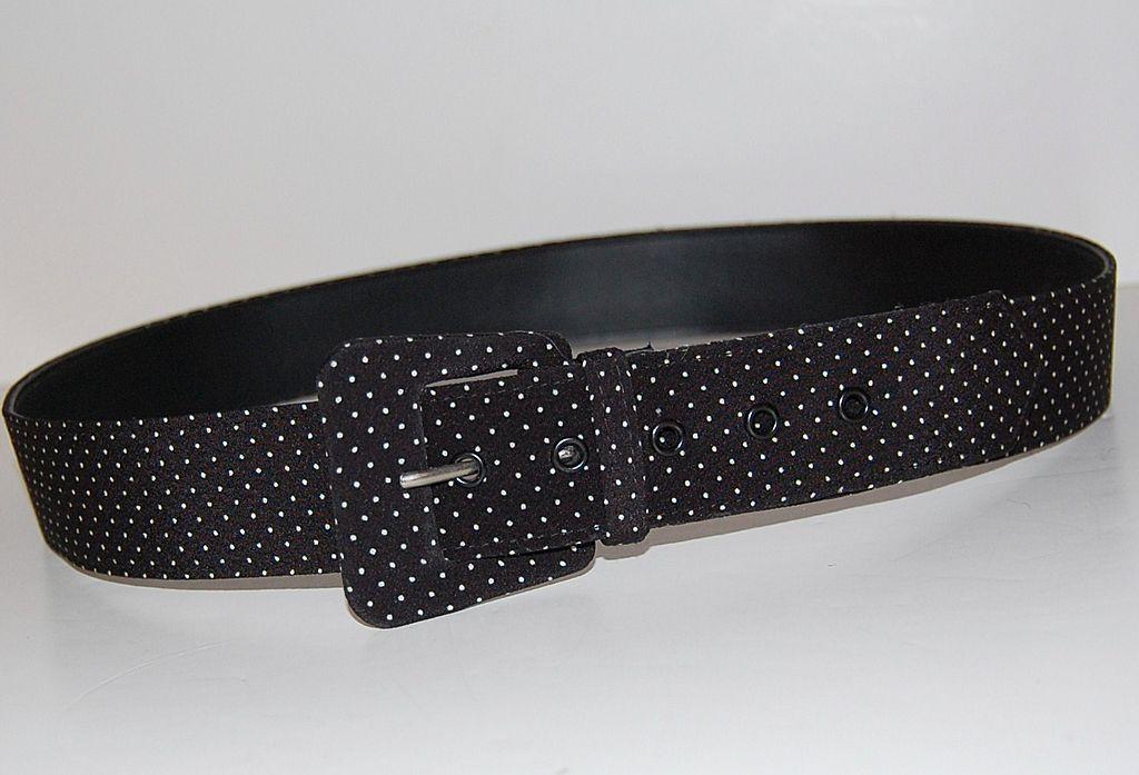 1980s Asymmetric Buckle ~ B&W Polka Dot Fabric Belt