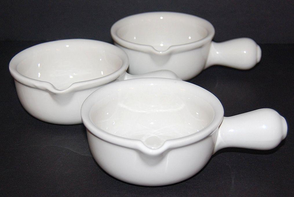 Set of 3 Hall Pottery White Ceramic Soup Bowls #644