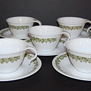 1970s Corelle ~ 10-Pc Crazy Daisy Hook Cups & Saucers