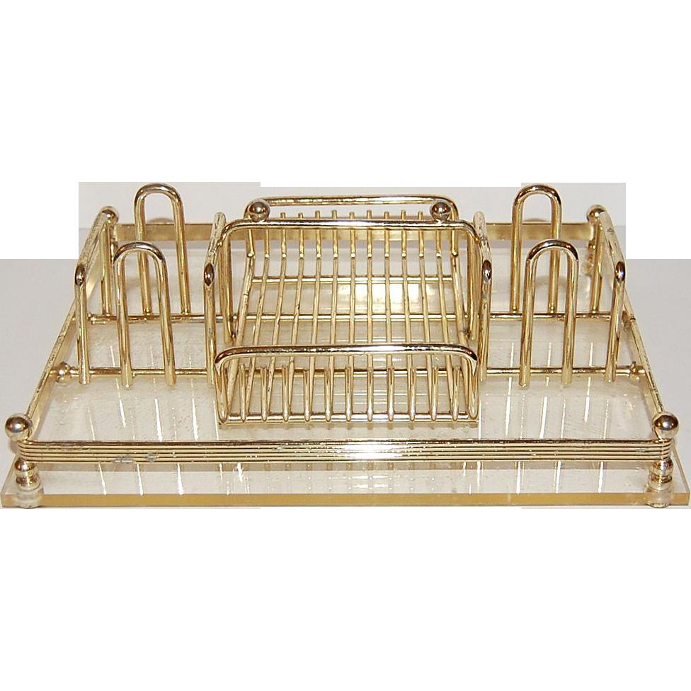Mid-Century Modern Lucite Goldtone Desk Organizer/Tray