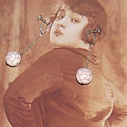 Art Deco Carved Celluloid Dangle Screwback Earrings