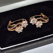 Sterling w/ Gold Vermeil CZ Leverback Earrings