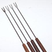 1960s Oster ~ 4-Pc SS Fondue Fork Set ~ Fun Wood Handles