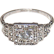 Art Deco Ziggurat Paste & Sterling Ring