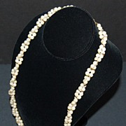"SALE 1960/70s Trifari ~ 29"" Double-Stranded Faux Pearl Necklace"
