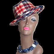1950/60s United Hatters ~ Plaid Wool Unisex Fedora Hat