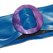 1960/70s Pearly Purple Buckle & Navy Blue Vinyl Belt