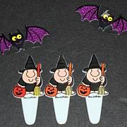 SALE 1970s Set of 3 Ziggy Halloween Cupcake Toppers