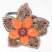 1980s Rhinestone & Faux Coral Flower Clamper Bracelet