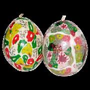 Vintage Set of 2 Millefiori Egg-Shaped Candles