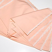 SALE Set of 5 Pretty Peach Fabric & Lace Dinner Napkins