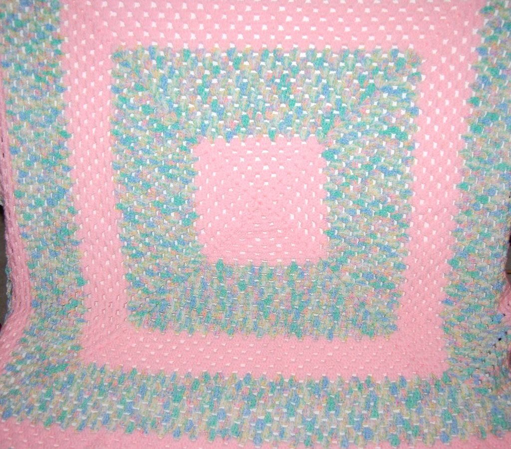 Pink Pastel Crochet Baby or Doll Blanket w/ Scalloped Border