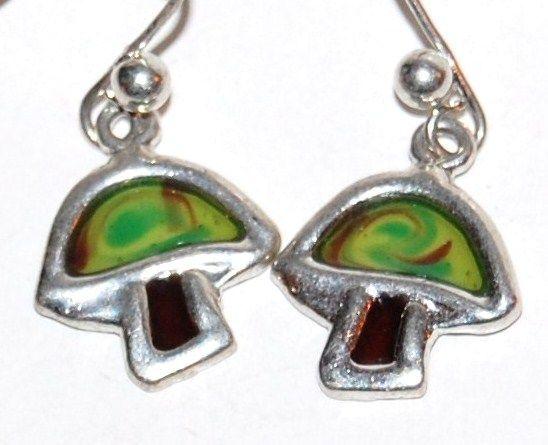 1960/70s Silvertone Mushroom Dangle Earrings