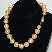 SALE Bold 15 mm Faux Cream Pearl Hand-Knotted Necklace