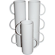 Vintage 8-Pc White Melamine Stackable Mug Set