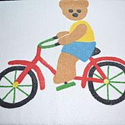 1980s Springmaid ~ Teddy Bear on Bicycle Bath Towel