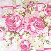 """SALE Vintage Pink Rose Damask Polyester Fabric ~ 36 x 45"""" Bolt"""