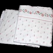 SALE 1980s Westpoint Stevens ~ Rose Pink Floral & White Twin Sheet Set