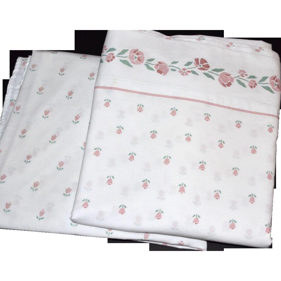 1980s Westpoint Stevens ~ Rose Pink Floral & White Twin Sheet Set