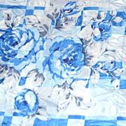 "SALE Blue Rose Damask Polyester Fabric ~ 36 x 45"" Bolt"