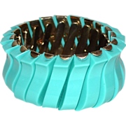 1950/60s Robin's Egg Blue Thermoset Plastic Stretch Bracelet