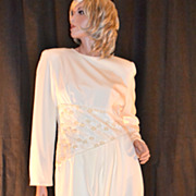 1980s Rina di Montella ~ Cream Faux Pearl & Sequin Dress