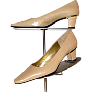 1980s Charles Jourdan ~ Tan Leather Gold-Trimmed Heels