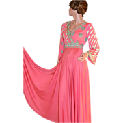 1970s Emilio Pucci ~ Saks Fifth Ave Coral Pink Maxi Dress