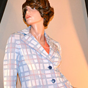 1970s Jean Castle ~ Blue & Orange Plaid Blazer