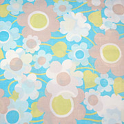 1960s Pacific ~ Blue Flower Power Percale Pillowcase
