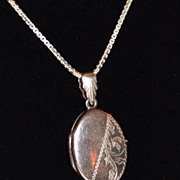 1950s Etched Sterling Locket Pendant Necklace