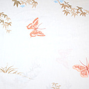 1960/70s Orange Butterfly Twin Fitted Sheet
