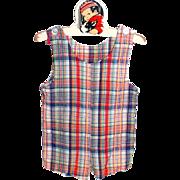 SALE 1960s Royal Heir ~ Child or Doll Plaid Romper