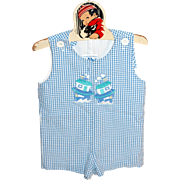 SALE 1980s Fast Friends ~ Blue Checkered Chug Boat Child or Large Doll Romper