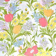 SALE 1960s Dan River ~ Floral Bouquet Dantrel No Iron Twin Flat Sheet